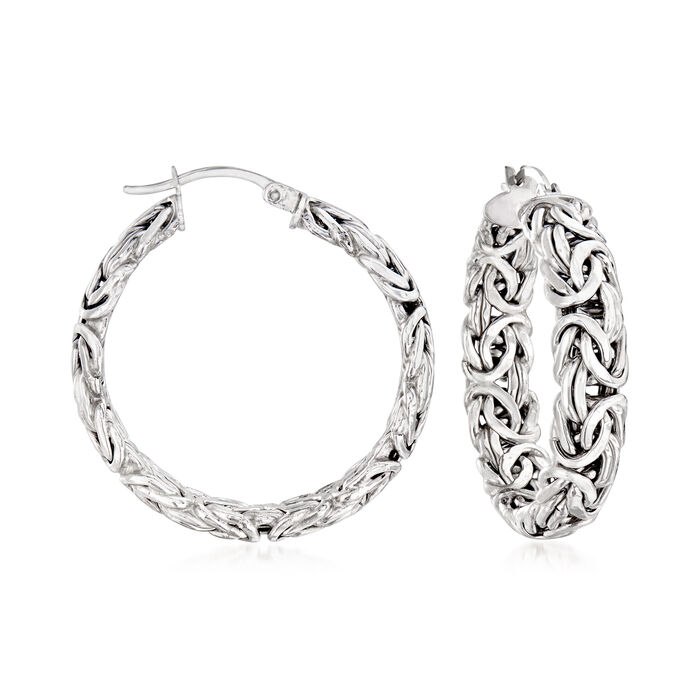 Sterling Silver Medium Byzantine Hoop Earrings. 1 1/4""