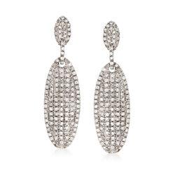 1.00 ct. t.w. Pave Diamond Oval Drop Earrings in Sterling Silver , , default