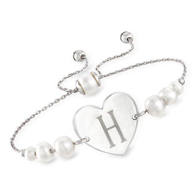 4-7mm Cultured Pearl Personalized Heart Bolo Bracelet in Sterling Silver