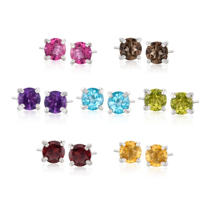 7.00 ct. t.w. Multi-Stone Jewelry Set: Seven Pairs of  Stud Earrings in Sterling Silver, , default