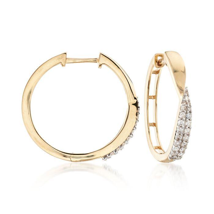 """.32 ct. t.w. Diamond Twist Hoop Earrings in 14kt Yellow Gold. 3/4""""."""