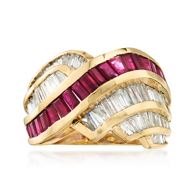 C. 1990 Vintage 3.20 ct. t.w. Diamond and 1.90 ct. t.w. Ruby Crisscross Ring in 14kt Yellow Gold, , default