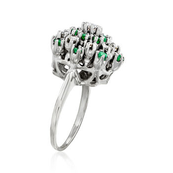 C. 1970 Vintage .80 ct. t.w. Emerald and .45 ct. t.w. Diamond Cluster Ring in 14kt White Gold. Size 6