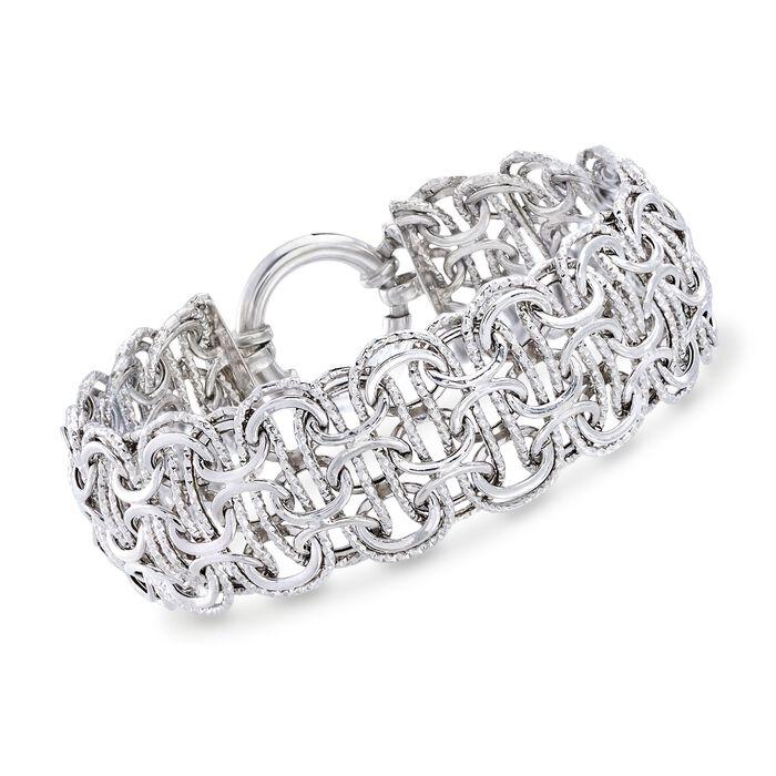 Sterling Silver Modified Byzantine-Link Bracelet, , default