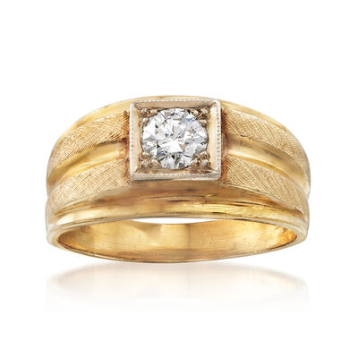 C. 1970 Vintage Men's .60 Carat Diamond Ring in 14kt Yellow Gold, , default