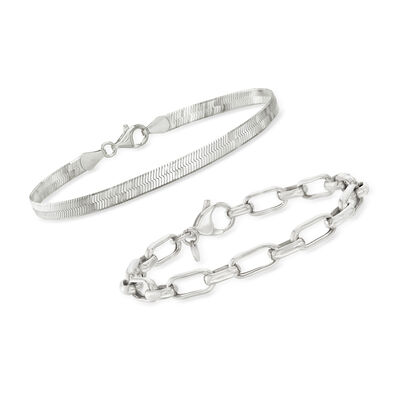 Sterling Silver Jewelry Set: Herringbone and Paper Clip Link Bracelets