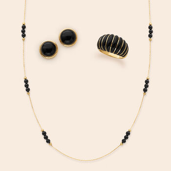 Italian Black Onyx Station Necklace in 14kt Yellow Gold, , default