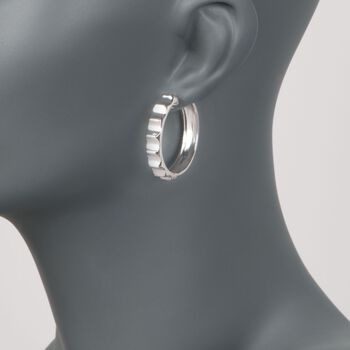 "Sterling Silver Ridged Hoop Earrings. 1 1/8"", , default"