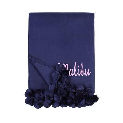 Indigo Pom Pom Throw Blanket, , default