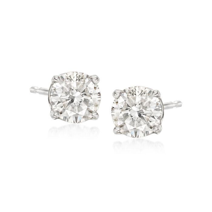 1.00 ct. t.w. Diamond Stud Earrings in 18kt White Gold, , default