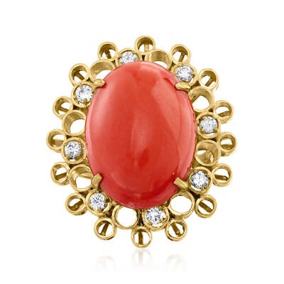 C. 1960 Vintage Red Coral and .40 ct. t.w. Diamond Ring in 14kt Yellow Gold