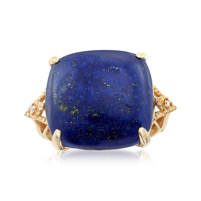 Lapis Cabochon Ring with Diamond Accents in 14kt Yellow Gold. Size 8, , default