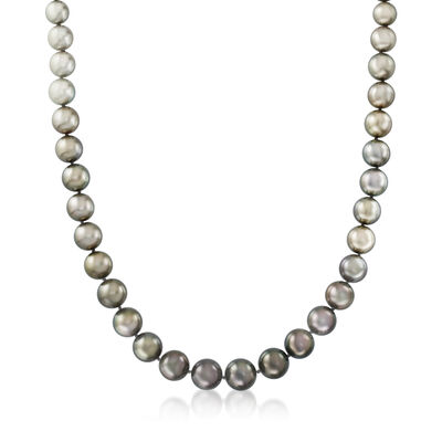 8-14mm Black Cultured Tahitian Pearl Necklace with 14kt White Gold