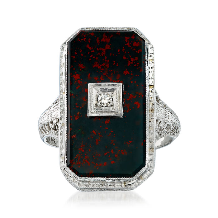 C. 1950 Vintage Bloodstone Ring with Diamond Accent in 14kt White Gold. Size 5.5, , default