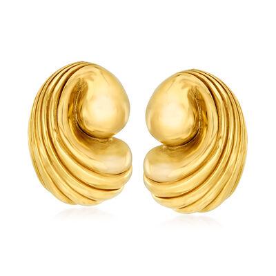 Italian 14kt Yellow Gold Shell Earrings, , default