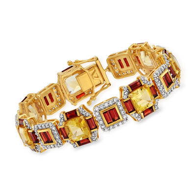 13.00 ct. t.w. Citrine, 9.50 ct. t.w. Garnet and 3.20 ct. t.w. White Zircon Bracelet in 18kt Gold Over Sterling