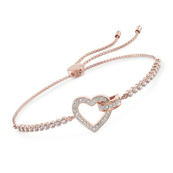 "Swarovski Crystal ""Lovely"" Open-Space Heart Bolo Bracelet in Gold Plate , , default"