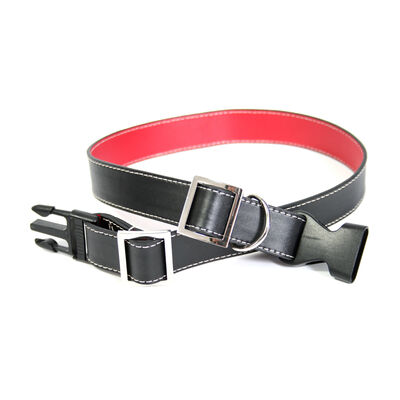 Royce Black and Red Leather Dog Collar, , default