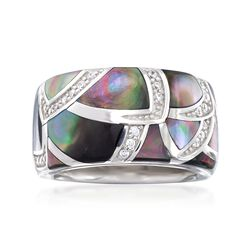 "Belle Etoile ""Sirena"" Black Mother-Of-Pearl and .20 ct. t.w. CZ Ring in Sterling Silver, , default"