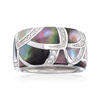 """Belle Etoile """"Sirena"""" Black Mother-Of-Pearl and .20 ct. t.w. CZ Ring in Sterling Silver. Size 7, , default"""