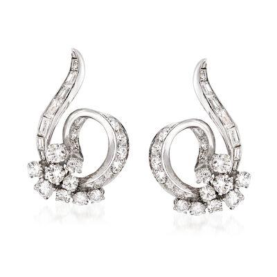 C. 1950 Vintage 2.40 ct. t.w. Diamond Swirl Clip-On Earrings in Platinum, , default
