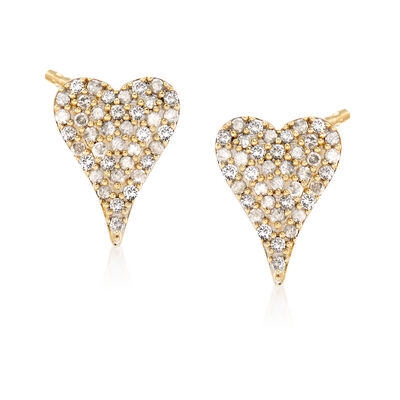 .50 ct. t.w. Diamond Heart Earrings in 14kt Yellow Gold