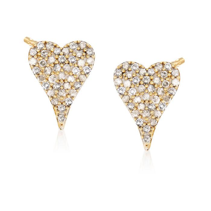 .50 ct. t.w. Diamond Heart Earrings in 14kt Yellow Gold