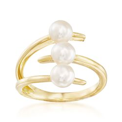 5-5.5mm Cultured Pearl Three-Row Bypass Ring in 18kt Gold Over Sterling, , default