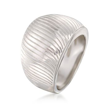Sterling Silver Ribbed Dome Ring, , default