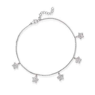 .80 ct. t.w. CZ Star Anklet in Sterling Silver, , default