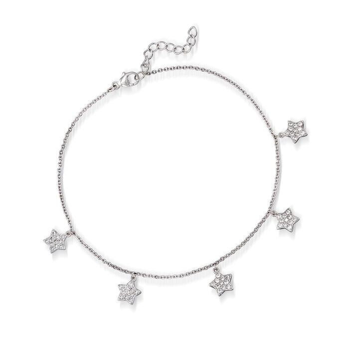""".80 ct. t.w. CZ Star Anklet in Sterling Silver. 9"""", , default"""