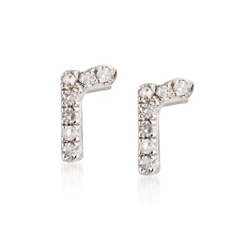 Diamond Accent Lowercase Block Initial Stud Earrings in Sterling Silver, , default