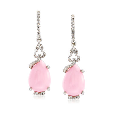 Pink Opal and .30 ct t.w. White Topaz Drop Earrings in Sterling Silver, , default