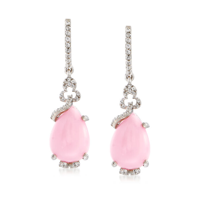 Pink Opal and .30 ct t.w. White Topaz Drop Earrings in Sterling Silver., , default