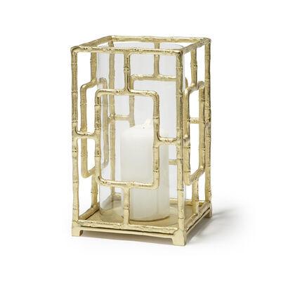 Golden Bamboo Hurricane Candleholder, , default