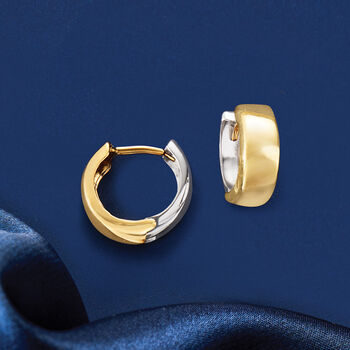 """14kt Two-Tone Gold Reversible Huggie Hoop Earrings. 3/8"""""""