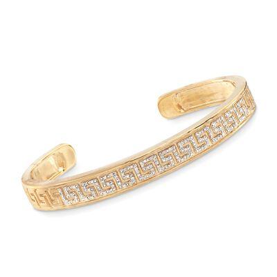 .20 ct. t.w. Diamond Greek Key Cuff Bracelet in 18kt Gold Over Sterling Silver, , default