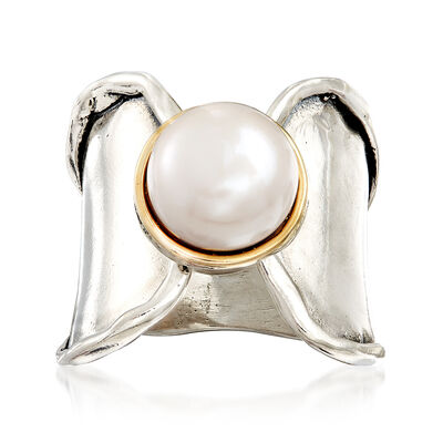 9.5-10mm Bezel-Set Cultured Pearl Ring in Sterling and 14kt Gold, , default