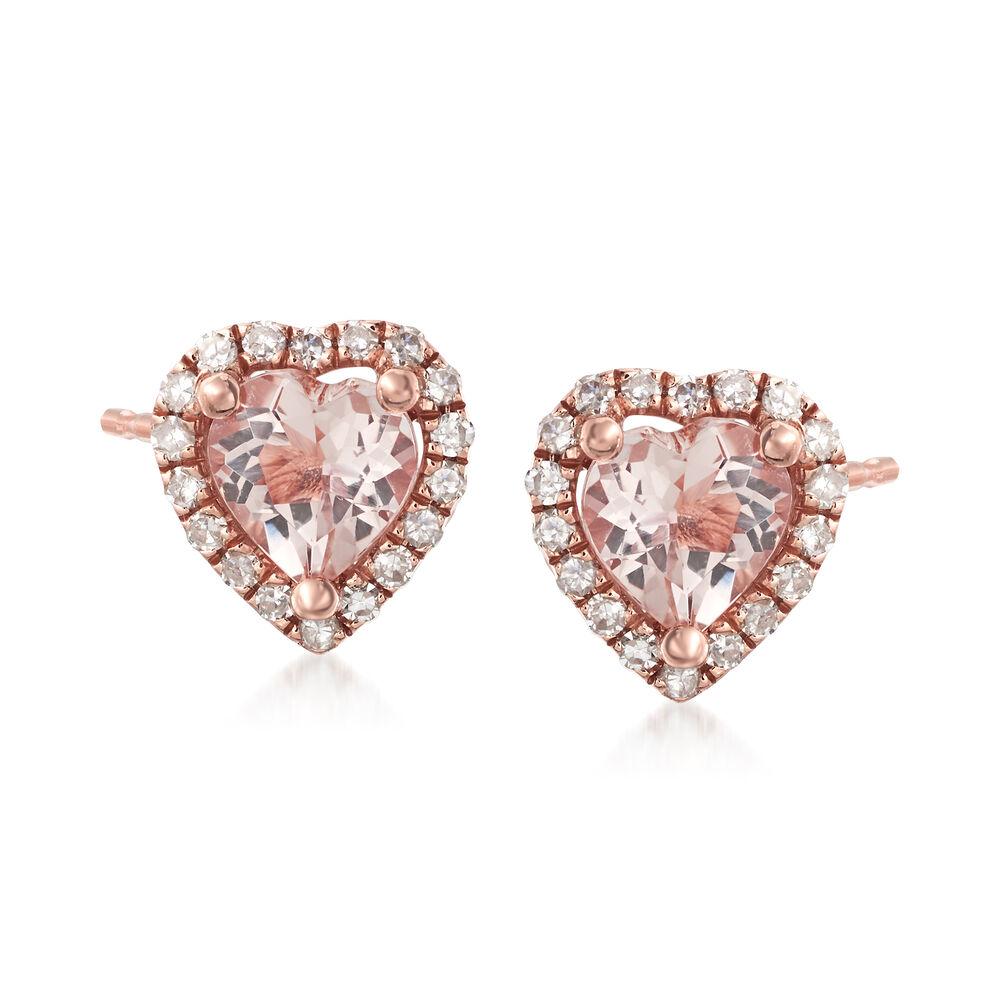 670500b133a5e .70 ct. t.w. Morganite and .13 ct. t.w. Diamond Stud Earrings in 14kt Rose  Gold
