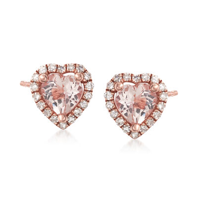 .70 ct. t.w. Morganite and .13 ct. t.w. Diamond Stud Earrings in 14kt Rose Gold , , default