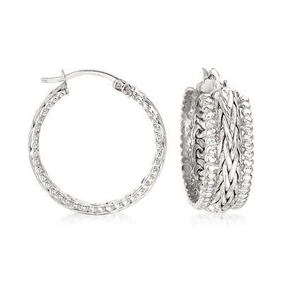 Sterling Silver Beaded-Edge Wheat-Link Hoop Earrings