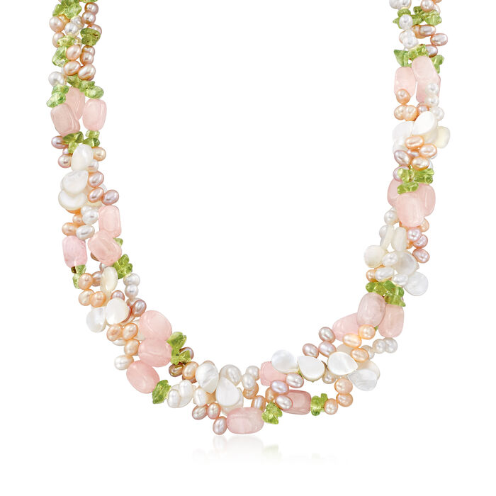 4-5mm Multicolored Cultured Pearl and Multi-Stone Torsade Necklace with Sterling Silver