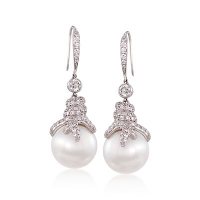 14.5mm Cultured South Sea Pearl and 2.16 ct. t.w. Diamond Earrings in 18kt White Gold, , default