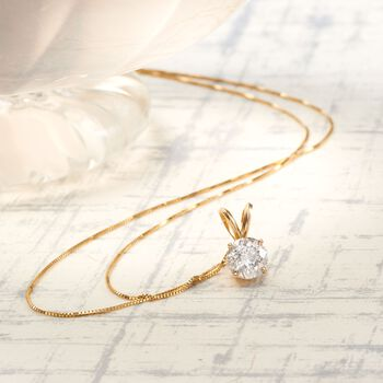 1.25 Carat Diamond Solitaire Necklace in 14kt Yellow Gold. 18""