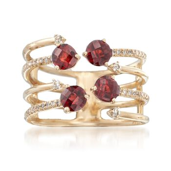 1.10 ct. t.w. Garnet and .18 ct. t.w. Diamond Open Ring in 14kt Yellow Gold, , default