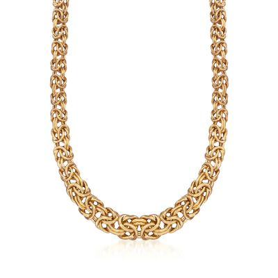 Italian 24kt Gold Over Sterling Graduated Byzantine Necklace , , default