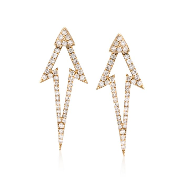 .54 ct. t.w. Diamond Jewelry Set: Stud Earrings and Front-Back Jackets in 14kt Yellow Gold, , default