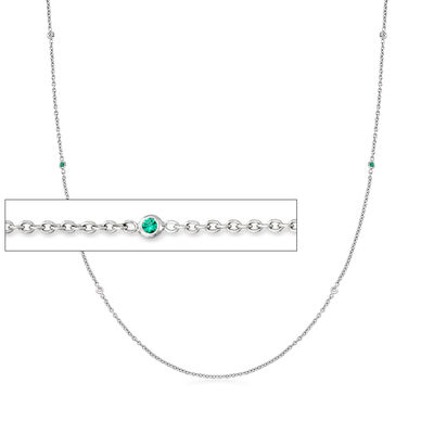 C. 1990 Vintage .18 ct. t.w. Diamond and .12 ct. t.w. Green Tsavorite Station Necklace in 14kt White Gold