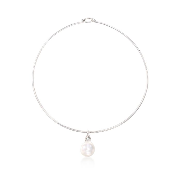 15-16mm Cultured Baroque Pearl Drop Collar Necklace in Sterling Silver, , default