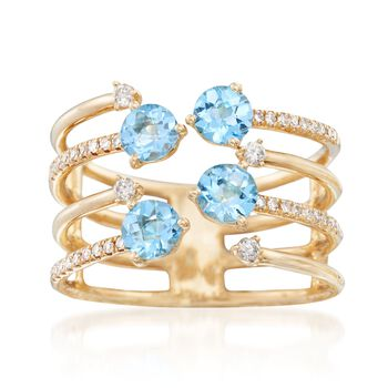 1.00 ct. t.w. Blue Topaz and .18 ct. t.w. Diamond Open Ring in 14kt Yellow Gold. Size 6, , default